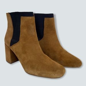 Zara Suede Ankle Booties Block Heel Chestnut Brown